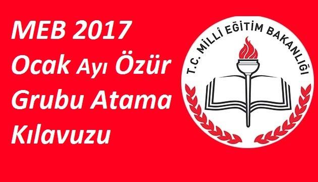 MEB Ocak Ayı Özür Grubu Atama Kılavuzu 2017