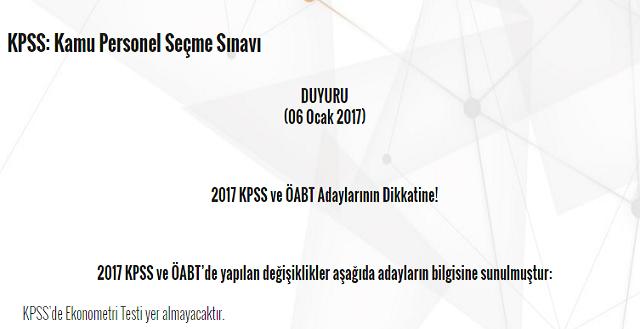 2017 KPSS ve ÖABT ile İlgili Önemli Değişiklik