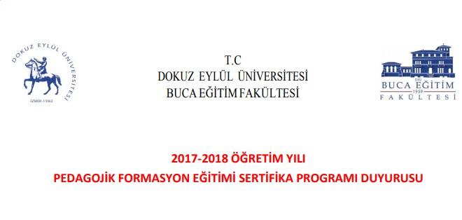 2017-2018 İzmir Dokuz Eylül Formasyon İlanı