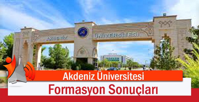 Akdeniz Üniversitesi Formasyon Sonuçları