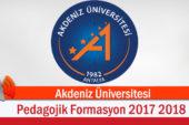 Akdeniz Üniversitesi Pedagojik Formasyon 2017 2018 Bahar Dönemi