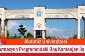 Akdeniz Üniversitesi Formasyon Programındaki Boş Kontenjan İlanı