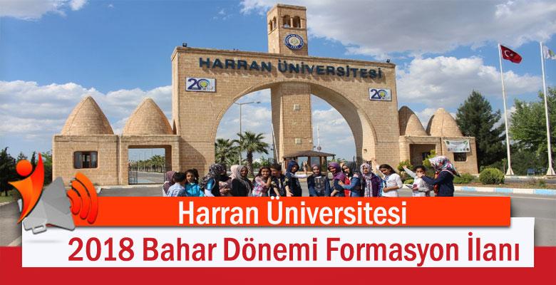 Harran Üniversitesi 2018 Bahar Dönemi Formasyon İlanı