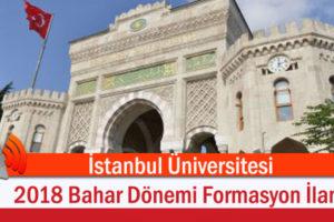 İstanbul Üniversitesi 2018 Bahar Dönemi Formasyon İlanı