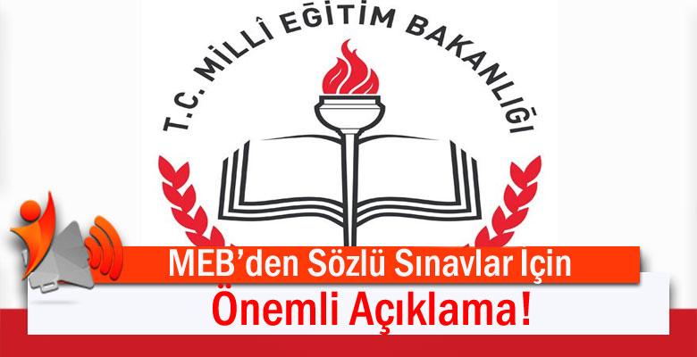 Milli Eğitim Bakanlığı'ndan Sözlü Sınavlarla İlgili Önemli Açıklama